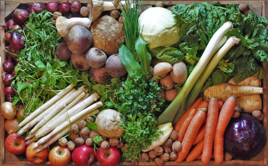 Los veganos comen un gran número de alimentos: verduras, frutas, cereales, frutos secos, etc. Abundancia vegana.